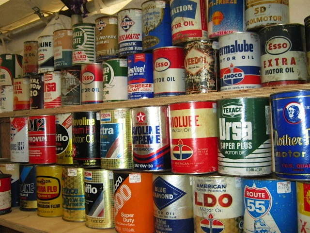 Antique oil cans for sale at Brimfield. Photo by Ben Marks.