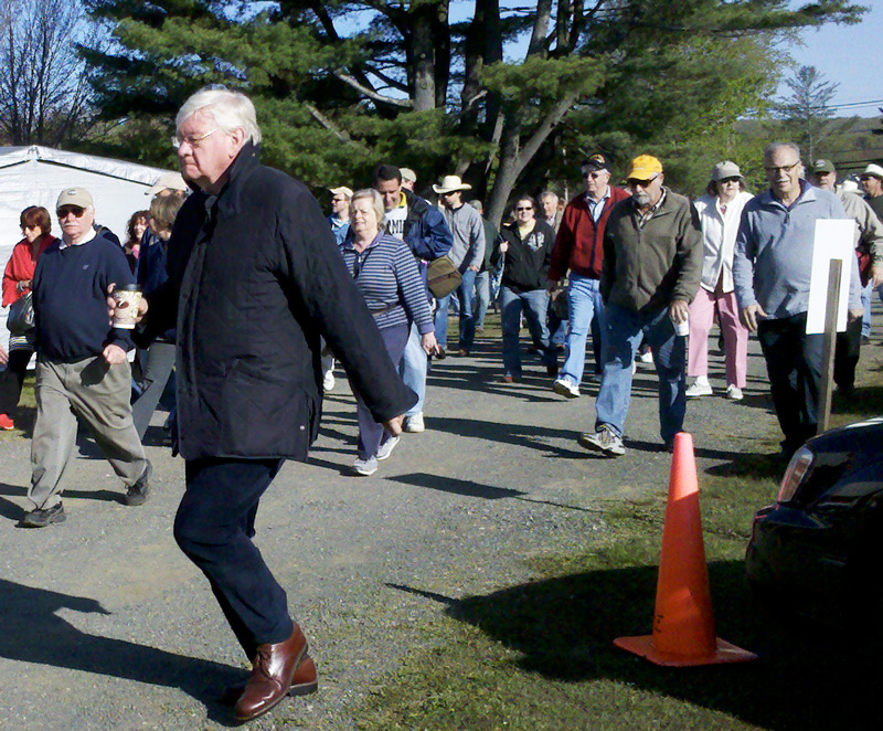 As soon as the gates open at the J&J field, the oldest show at Brimfield, the crowd rushes in. Photo by Maureen Stanton.