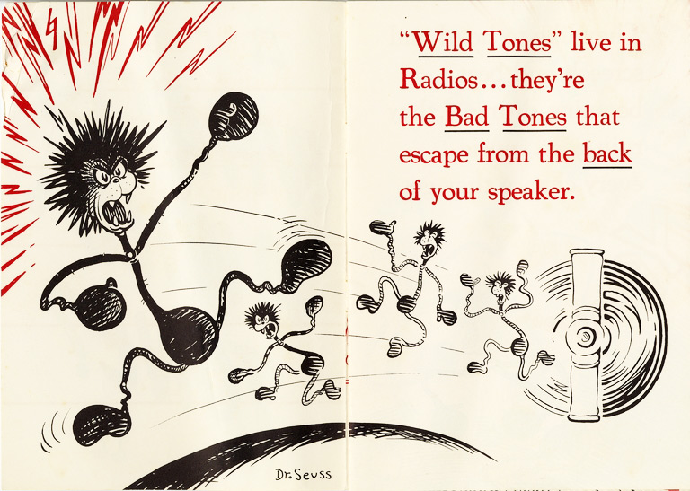 "This advertising pamphlet for Stromberg-Carlson radios, titled ""What Is a Wild Tone?"", bears a striking resemblance to Dr. Seuss's storybooks. From the UCSD Mandeville Special Collections Library."
