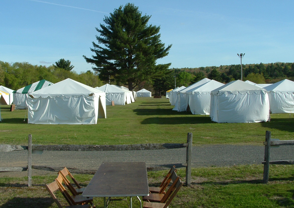 The prestigious J&J field at the Brimfield antique fair, before the dealers are allowed to set up there. Photo by Maureen Stanton.