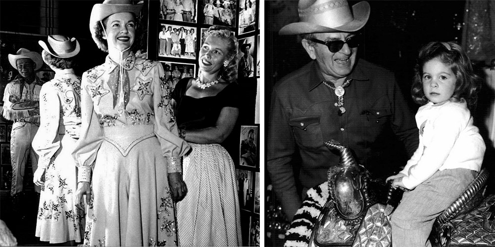 Left, Nudie's wife Bobbie Cohn fits Dale Evans for a custom outfit as Roy Rogers looks on. Right, a serious Jamie Lee gets a laugh out of her grandfather at the store.