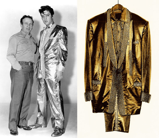 "Nudie created the famous gold lame suit for Elvis Presley in 1957, which was featured on the cover of his album ""50,000,000 Elvis Fans Can't Be Wrong."""