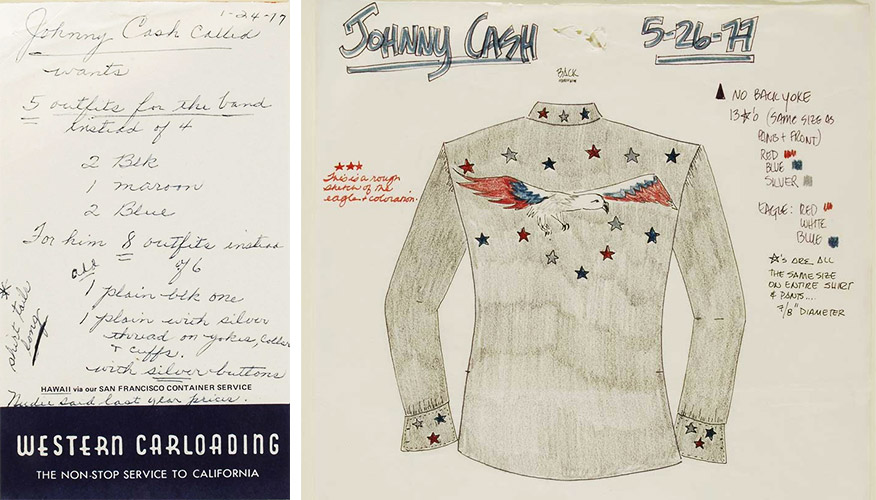Left, a note relaying a message from Johnny Cash, and right, a sketch for the singer's shirt design. Images courtesy the Autry National Center.