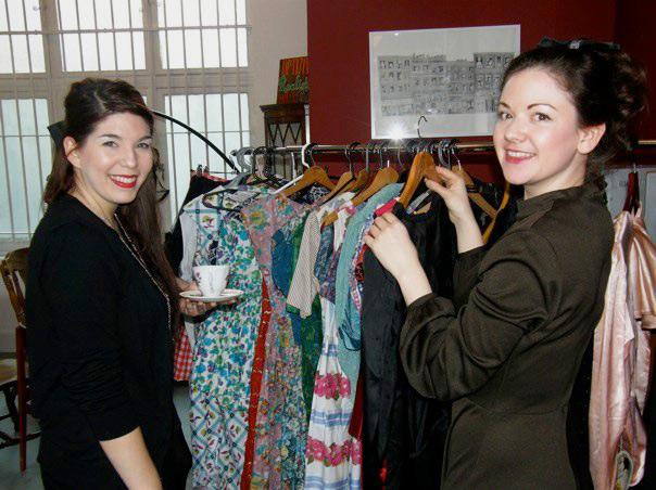 Naomi Thompson, at right, helps to turn an old shop called The Parlour into a pop-up vintage styling boutique. Via the Vintage Secret Facebook page.