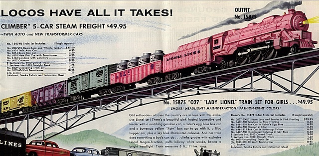 "The Lady Lionel train set, introduced in 1957, was a failure, even though the text claims, ""Girl railroaders are in love with this exclusive Lionel set!"" Click image to read more. Courtesy of Lynn Peril."