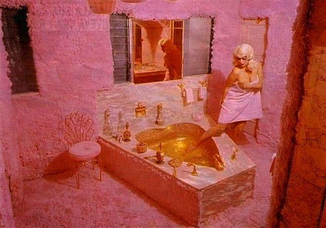 "Author Lynn Peril calls Jayne Mansfield ""the patron saint of Pink Think."" The late actress and Playboy Playmate had her entire Hollywood mansion done up in delicate pinks."