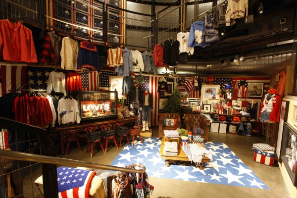 "A view of Carroll's entire ""Stars and Stripes"" installation at the Levi's store in San Francisco. Via corduroymag.com."