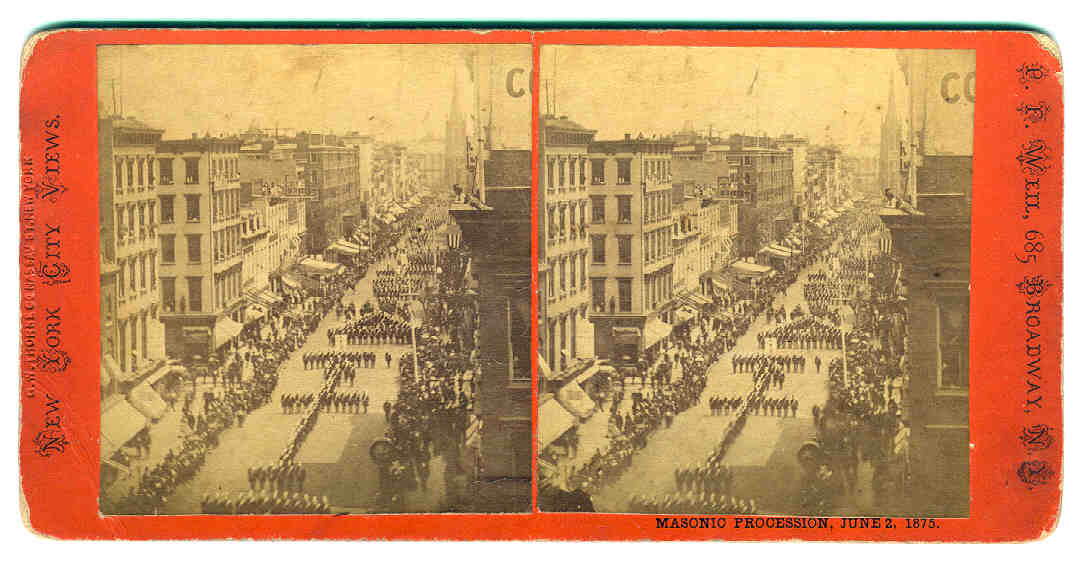 A stereoview card of a Knights Templar parade that took place in New York City on June 2, 1875. Via Phoenixmasonry.org.