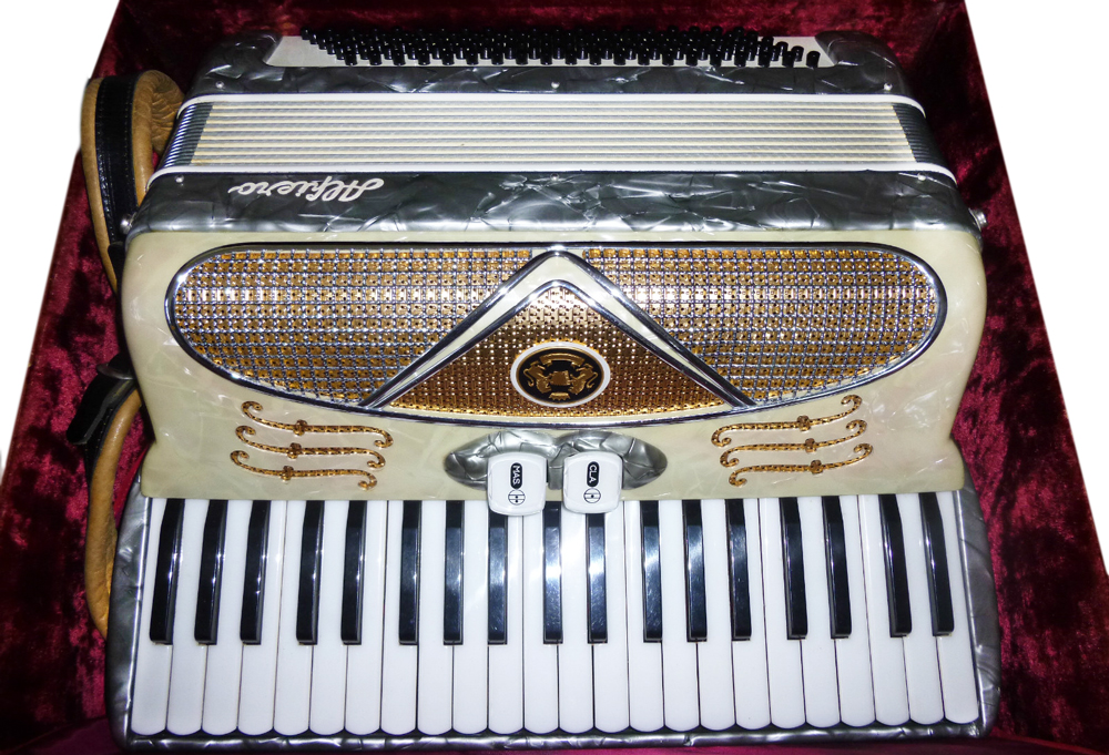 "This Alfiero accordion was purchased at an estate sale of a woman who passed away. The seller says, ""I swear the thing is haunted. Gives me goosebumps."""
