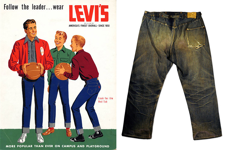 Left, Levi's ads from the mid-1950s caused outrage among some adults who saw blue jeans as a sign of delinquency. Right, the