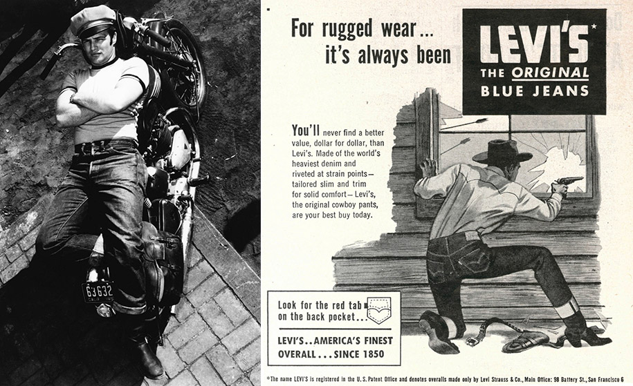 "Top: Bruce Springsteen's cover image for ""Born In The U.S.A."" works the blue-collar rebel look. Above: Left, Marlon Brando's character in 1953's ""The Wild One"" epitomized the bad-boy appeal of blue jeans. Right, a mid-century ad for Levi's recalls its Western heritage."
