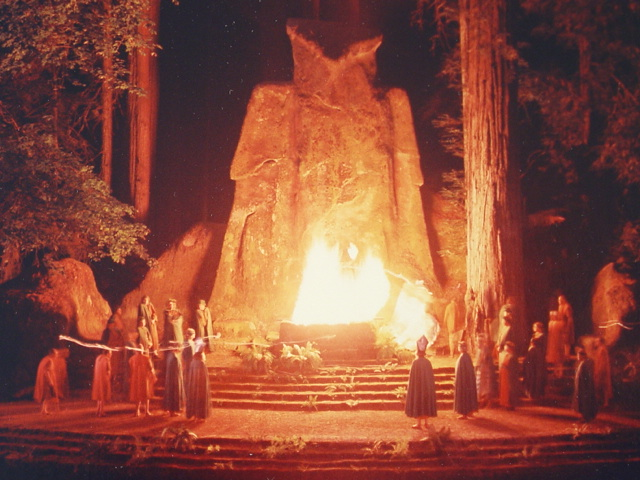 Image of the Cremation of Care ceremony put on the Bohemian Club in California.