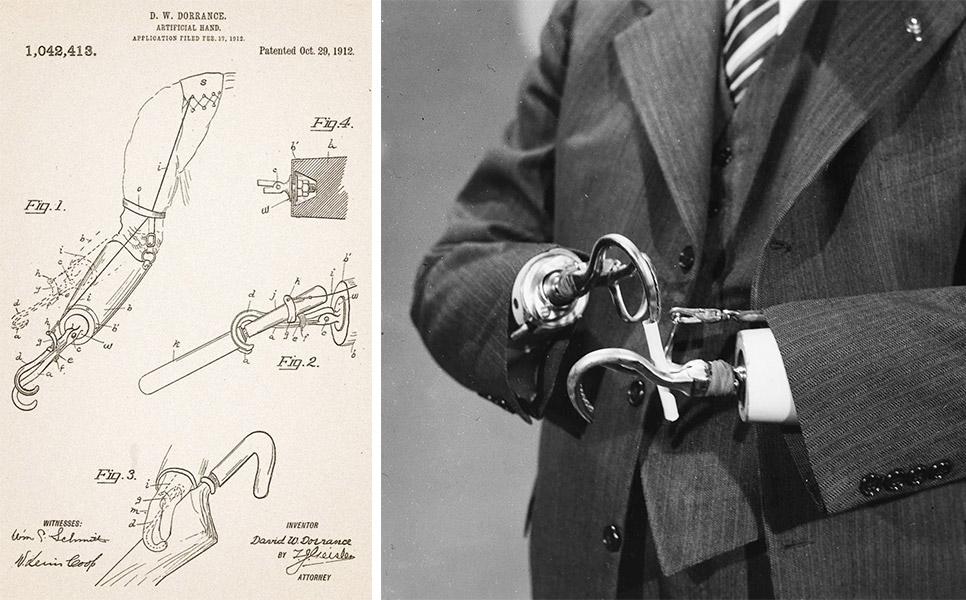 Left, D.W. Dorrance's patent for a split-hook prosthetic hand. Right ...