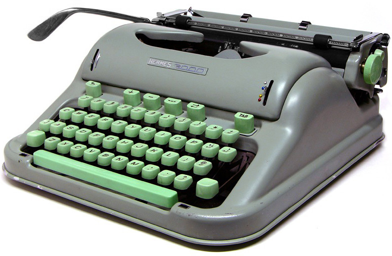 "Hanks has also posted a Swiss-made Hermes 3000 from the 1950s  with its distinctive hospital-green keys as his ""typewriter of the week."" Via Machines of Loving Grace."