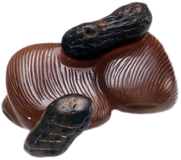 "Jujubes and peanuts (these are carved from agate) are symbols of fertility. In particular, the Chinese word for jujubes is a homonym of ""early arrival of a son."""