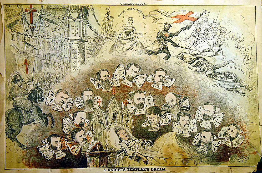 "A watercolor postcard entitled ""A Knight Templar's Dream,"" in which a Mason dreams of an event in Chicago with the planning committee members' heads flying around him. Via Phoenixmasonry.org."