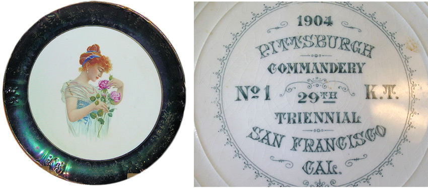 A Knights Templar portrait plate from 1904 features a beautiful woman. Via Phoenixmasonry.org.