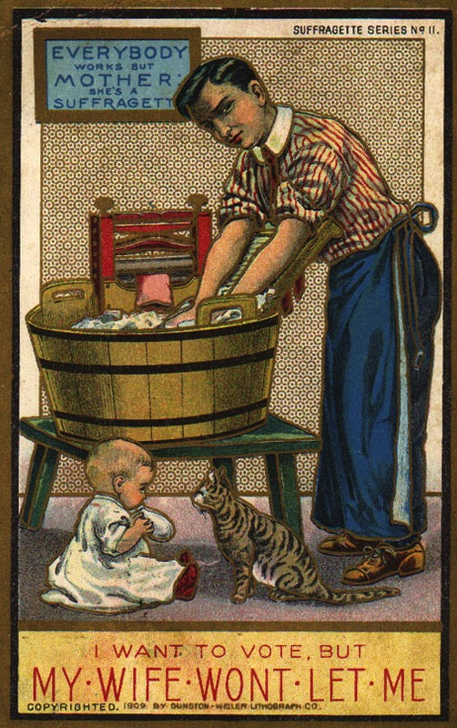 "Top: A little boy reprimands a young suffragist for ignoring her dolls in this U.S.-made card marked ""BS."" Above: In 1909, the Dunston-Weiler Lithograph Company of New York issued possibly the most beautiful set of 12 anti-suffrage cards ever. Palczewski, Catherine H. Postcard Archive. University of Northern Iowa. Cedar Falls, IA."