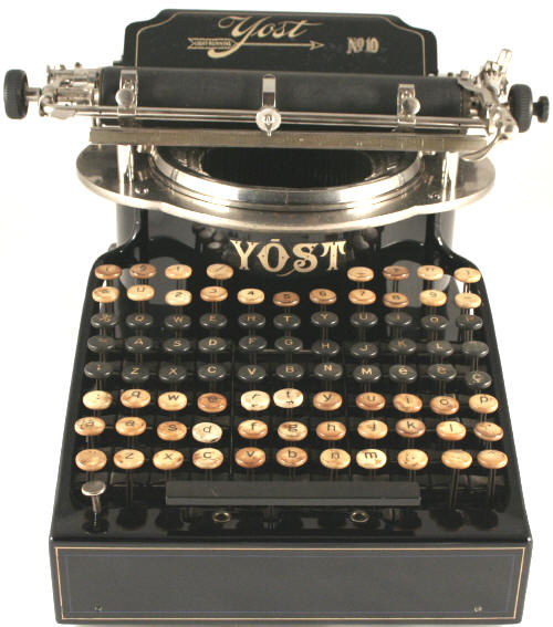 A 1900s Yost typewriter, like this one, has also been spied at Hanks' office. Via Typewriter.be.