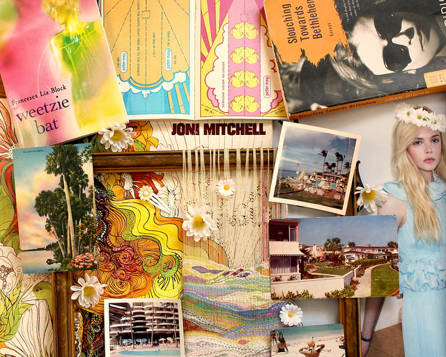 "Top: Tavi makes her getaway. Photo by Petra Collins. Above: A Los Angeles-inspired mood board Gevinson created includes a paperback copy of ""Weetzie Bat,"" Peter Max paper airplanes, a tapestry her mother made, and vintage postcards and photographs."