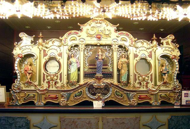 Black Forest company A. Ruth & Sohn made these elaborate band organs with bell ringers for fairground carousels. This 36b model was shown at the Waldkirch Organ Festival. Photo by John Page, from the Independent Mechanical Organ Discussion Forum.