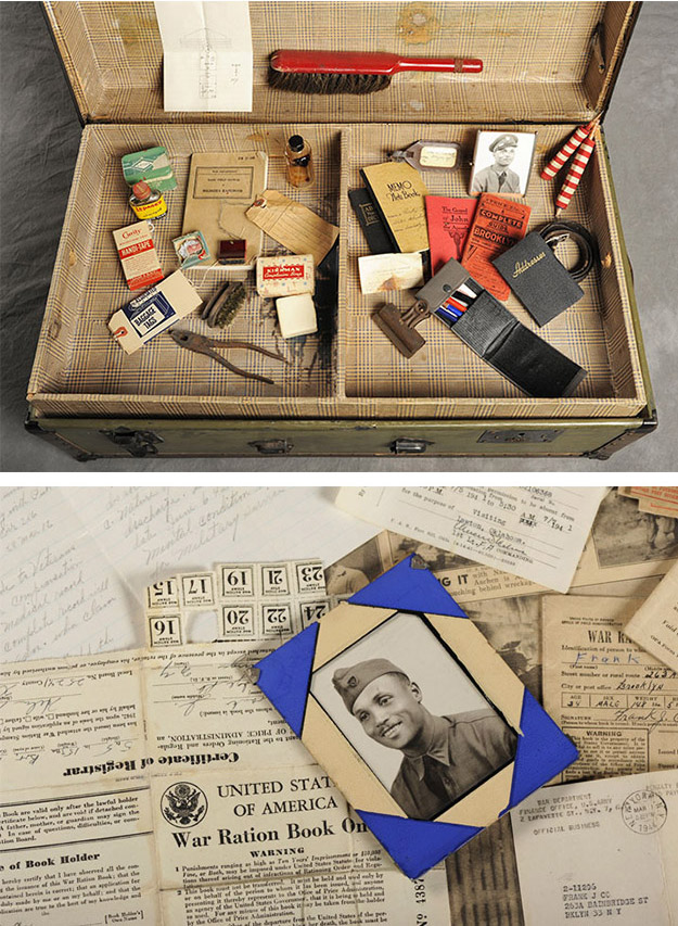 Frank's suitcase included much military-related ephemera.
