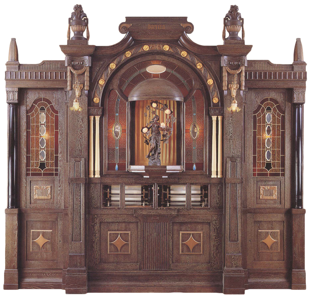 """Reblitz Restoration Inc. revived one of the world's most complex and musical orchestrions, the Hupfeld Super Pan Orchestra, which stands 11-feet-4-inches high and 12-feet wide. It contains 312 pipes and 98 harmonium reeds as well as piano, xylophone, bells, percussion, and two 10-roll automatic changers. Photo from """"The Golden Age of Automatic Musical Instruments,"""" copyright 2001 by Arthur A. Reblitz."""