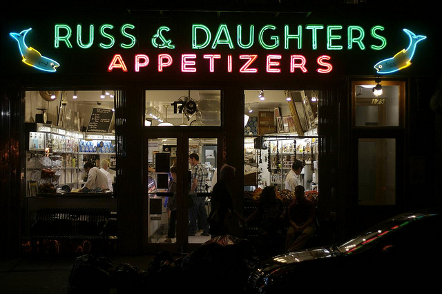 Russ & Daughters on the Lower East Side has a pair of blue and yellow fish. Photo by Hively.