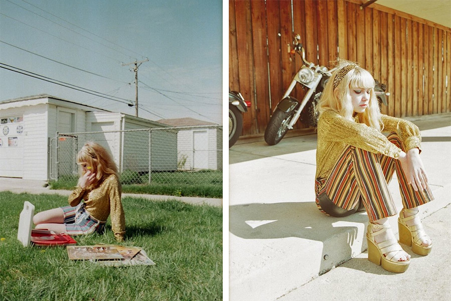 Seventies-inspired looks from Tavi and Petra's neighborhood photoshoot. Photos by Petra Collins.