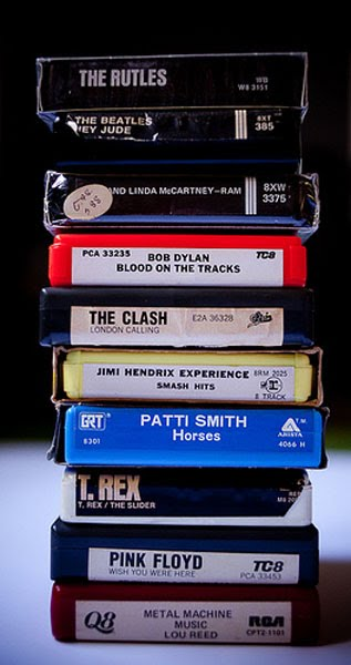 A selection of eight-tracks from Bucks Burnett's collection. Photo by Allison V. Smith.