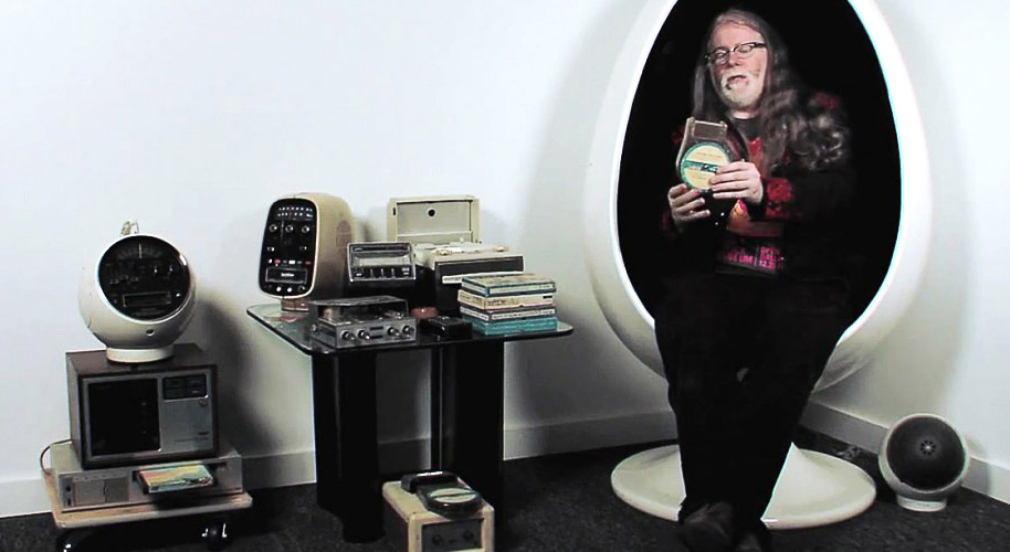Burnett shares a selection of historic audio formats at the Dallas museum.