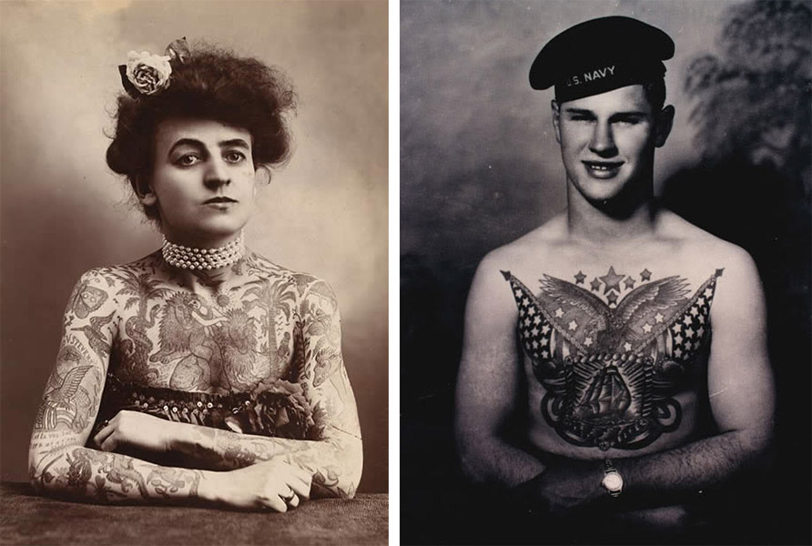 Left, a 1907 portrait of Mrs. Maud Stevens Wagner, the wife of tattooist Charlie Wagner. Right, a sailor with a patriotic chest piece by West Coast tattooist Bert Grimm.