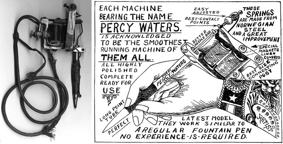 Percy Water's innovative tattoo machine and a 1928 ad that mimics the artistry of hand-drawn flash.