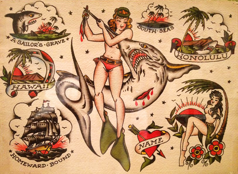 A sheet of Sailor Jerry's flash shows his expressive, clean-lined style.
