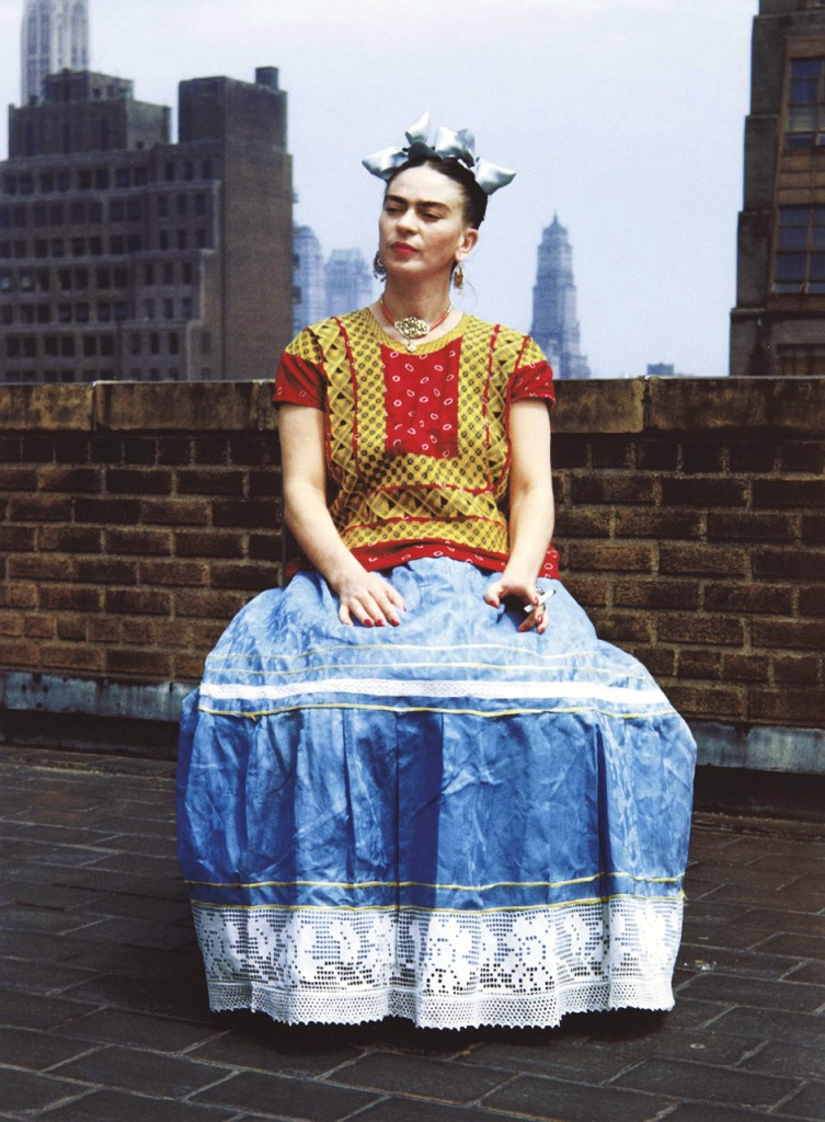 Kahlo's traditional attire particularly emphasized her Mexican heritage in New York, circa 1946. Photo by Nickolas Muray.