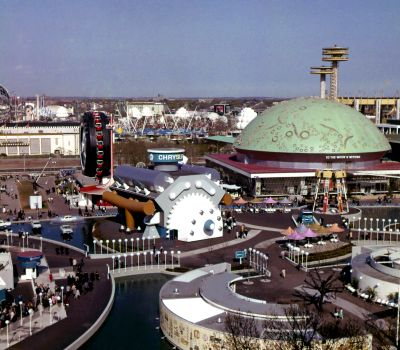 The Chrysler Pavilion at the 1964 New York World's Fair, designed by Irving Harper's team at George Nelson Associates. Image from TheTruthAboutCars.com