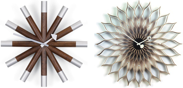 Harper's clocks, like the 1961 Wheel Clock and the 1958 Sunflower Clock, stay true to his aesthetic and aren't particularly easy to read. Images via Vitra.com