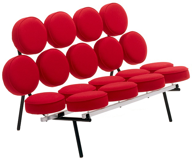 A new edition of the Marshmallow Sofa is currently for sale at the Herman Miller web site. Initially, it was too expensive to be produced in large numbers. Image via HermanMiller.com.