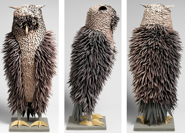 "Three views of an owl sculpture, made of painted craft paper and doll eyes, which was the last piece Harper completed before he ran out of display room. Photos by D. James Dee, from ""Irving Harper Works in Paper."""