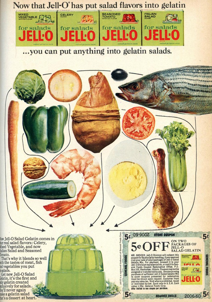 """An advertisement for various """"salad"""" flavored Jell-O products, which are no longer in production. Clark has rediscovered the preservative effect of Jell-O on encased foods."""