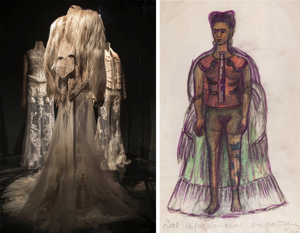 "Left, Tisci's designs for Givenchy's 2010 collection echo the corsetry and transparency of Kahlo's 1934 drawing ""Appearances Can Be Deceiving,"" which shaped the entire exhibition. Photo by Miguel Tovar."