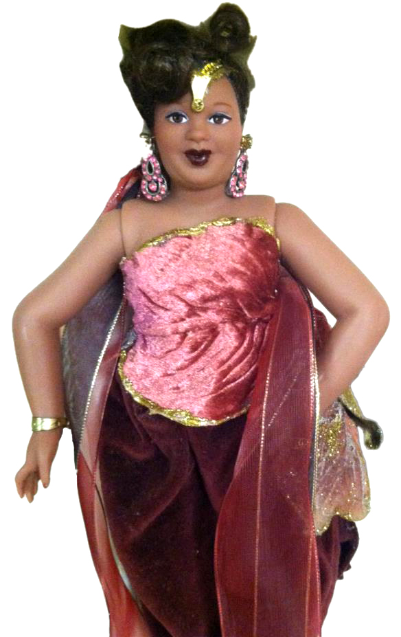 Debra Britt will bring this Big Beautiful Doll, featuring fabulous fashions designed by Britt and her sisters, to schools to show the children that size 16 women are beautiful. From the National Black History Museum Facebook page.