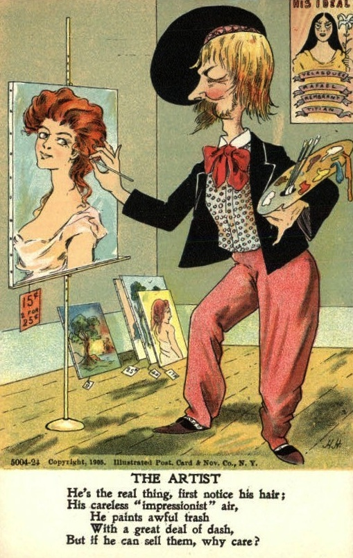 This 1905 postcard sends up bad artists.