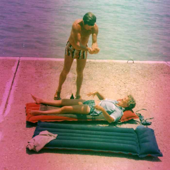 A vacation scene from a roll of film in a Brownie Hawkeye camera found in St . Jacobs, Ontario, by Chris and Grace Hughes.