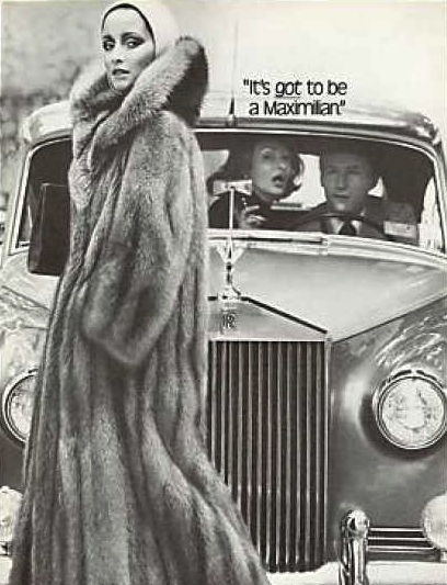 A Maximilian Fur Coat advertisement featuring an envious couple in a Rolls Royce in 1976. (Via VintageAdBrowser.com)