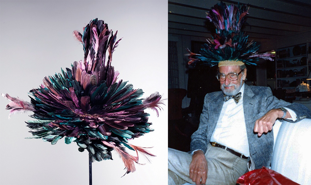 "The painting ""Raising Money for the Arts"" was clearly influenced by his feathered hat that fans out like a peacock tail, seen in the exhibition, ""Hats Off to Dr. Seuss."" (Courtesy of the Dr. Seuss Estate)"