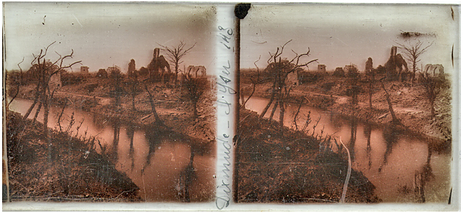A barren landscape seen in a stereoscope slide from the Hugheses collection taken during World War I.