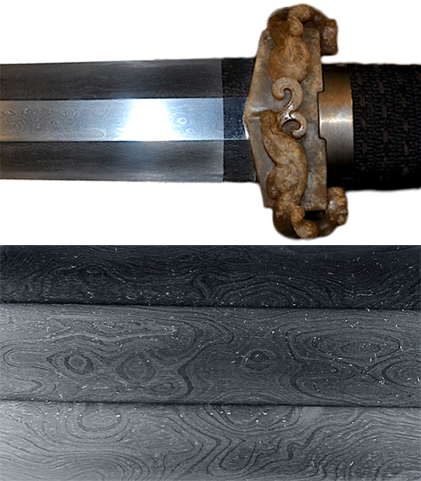 When Boyd got this 2,000-year-old 100-layer sword, it was covered with blood rust. The pattern shown in the bottom photo is known as leopard spots.