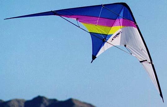 A Skynasaur Slicer flies over Roach Lake, Nevada, in 1996. Photo by Hoy Quan/BFK.net.