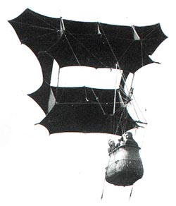Samuel Franklin Cody's man-lifting war kite, photographed in 1908, was used for observation by the British army. Via WikiCommons.